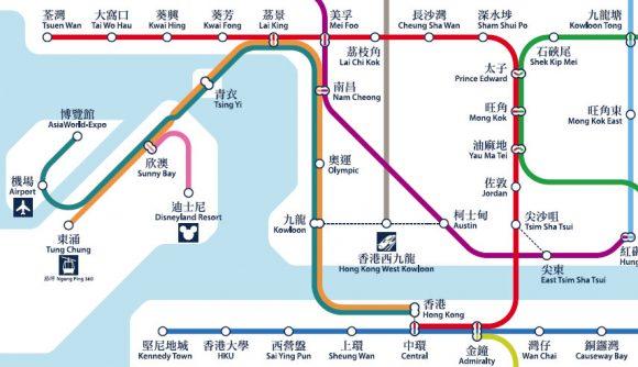 香港MTR 路線図 市街地