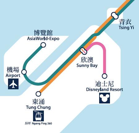 香港MTR 路線図 空港周辺