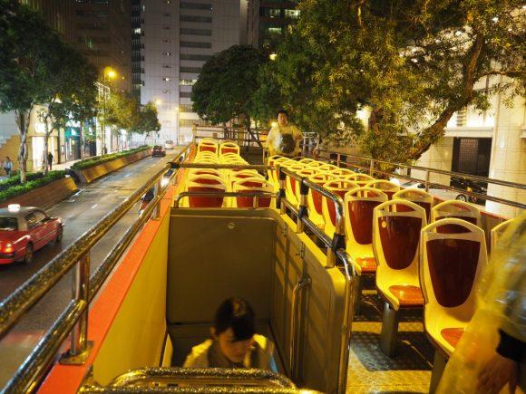 香港 オープントップバス 車内