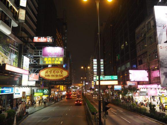 香港 オープントップバス 夜景